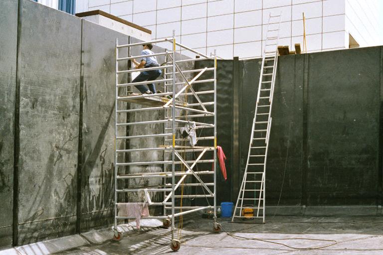 HDPE-bekleding van een betonnen bassin